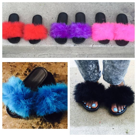 c674f3c14be0 Fuzzy fur slide sandals