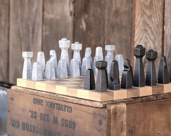 Blacksmith Chess Set, Metal Chess Set, Collectible Chess, Chess Pieces, Client Gifts, Table Art, Office Décor, Rustic Chess Set, Industrial