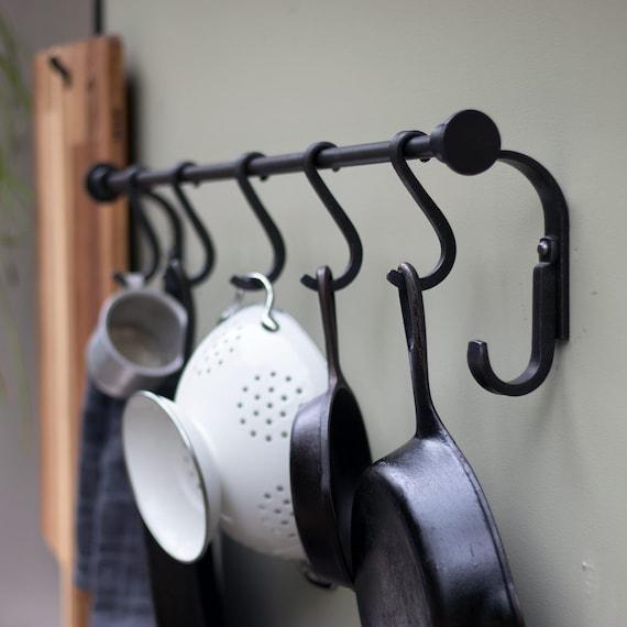 Kitchen Pot Rack, Pot and Pan Rack, Wall Mount Pot Rack, Cast Iron Pot  Rack, Kitchen Hook Rack, Hanging Pot Rack, Pot Rack Hook,Skillet Hook
