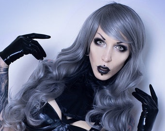 PennyWigs Lady D Silver - Long Wavy Full Wig Gray Flowing Soft Lush Volume Fade Natural Black Realistic Layered Witch Witchy Spooky Occult
