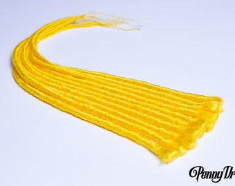 """Yellow Single Ended Synthetic Faux Loc Extensions (10 Pieces) 20"""" Long"""