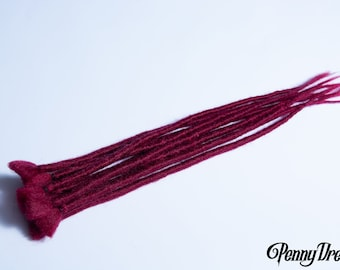 """NEW! Dark Red Burgundy Synthetic Faux Locs Single Ended Extensions (10 dreads) 18"""""""