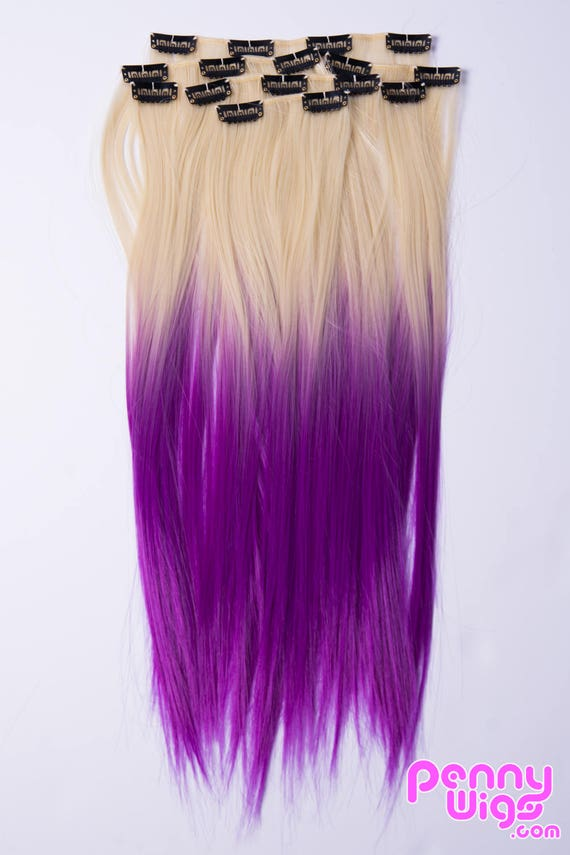 Sale Pennywigs Blonde Ombre Purple Dip Dyed Straight Clip In Etsy