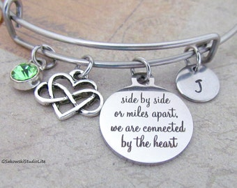 Side by side or miles apart we are connected by the heart Two Giraffes Personalized Hand Stamped Initial Birthstone Friends Necklace