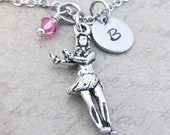 Hula Girl Charm Necklace, Personalized Hand Stamped Initial Birthstone Antique Silver Hawaiian Girl Charm Necklace