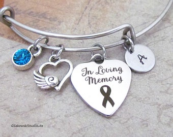 In loving memory Winged Heart Charm Personalized Hand Stamped Initial Birthstone Memorial Stainless Steel Bangle Bracelet