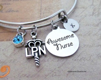Awesome Nurse  Licensed Practical Nurse Personalized Hand Stamped Initial Birthstone Silver LPN Caduceus Stainless Steel Expandable Bangle