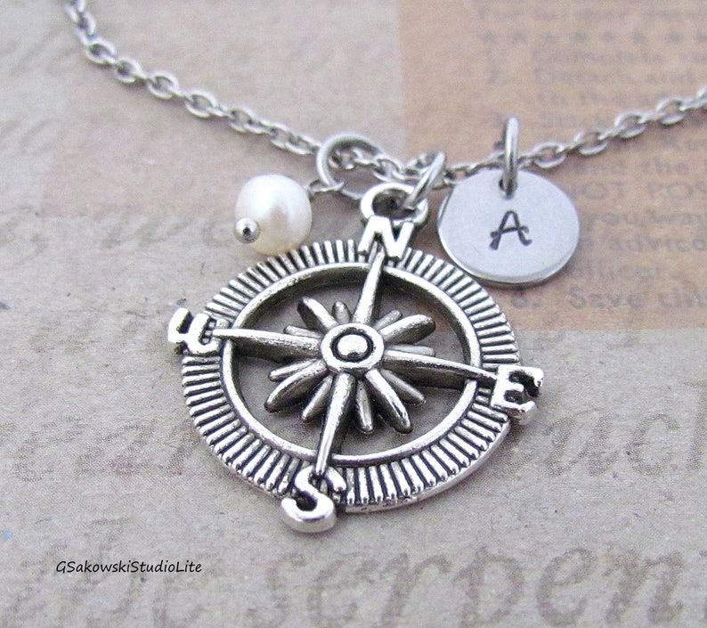 Personalized Antique Silver Hand Stamped  Initial Birthstone Monogram Compass Necklace Compass Charm Necklace