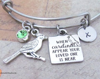 Memorial When cardinals appear your loved one is near Cardinal Charm Personalized Hand Stamped Initial Birthstone Stainless  Bangle Bracelet