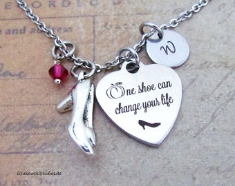 One shoe can change your life Cinderella's Shoe Necklace, Personalized Hand Stamped Initial Birthstone Antique Silver Cinderella Necklace