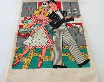 1950's Linen Tea Towel Unused Retro Tea Towel His & Hers