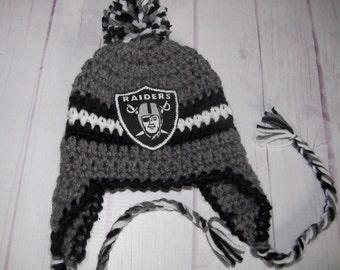 Football earflap hat-Newborn Photo Prop- crochet beanie baby hat-Raiders football  hat-football beanie- 94904868d5aa