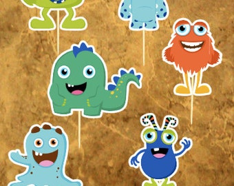 Little Monster Birthday Party - Friendly Monsters - Monster Baby Shower - 12 Little Monster cupcake toppers