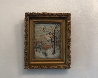 Antiques Beautiful Pair Antique Framed Landscape Canvas Paintings Signed Matching Frames