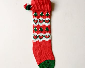 vintage 1970s1980s christmas stocking holiday stockings vintage christmas retro ambiance vintage holiday accessories red white green - Vintage Christmas Stockings