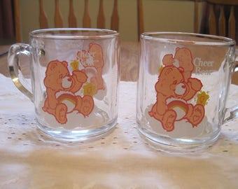 Set of Two Care Bears Mugs 1984