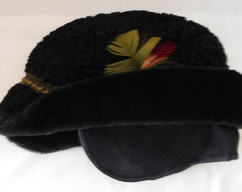 25bbdd1ec870f vintage HAT Curly Lambs Wool with ear flaps feathers Child s size