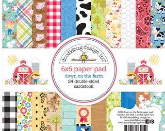 6 x 6  Paper Pad - Doodlebug Down on the Farm Collection Double-sided Card-stock -  24 different Patterns - Country Animals Denim Bandanas