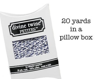 """Navy Blue """"Blueberry"""" Bakers Twine - 20 yards - Divine Twine Petites in a Pillow Box - 100% Cotton Stripe - USA made"""
