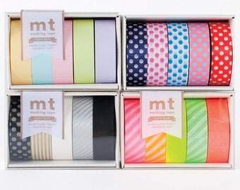 5 roll mt Boxed Sets Japanese Washi Tape - Choose One - Pastel Pop Monotone or Neon