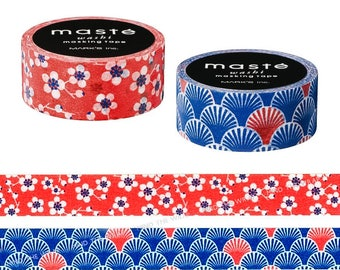 """Japanese Washi Tape Set - 2 rolls - """"Plum Flower"""" & """"Ocean Wave"""" Traditional  Patterns - 15mm x 7m each - Navy Blue and Red"""