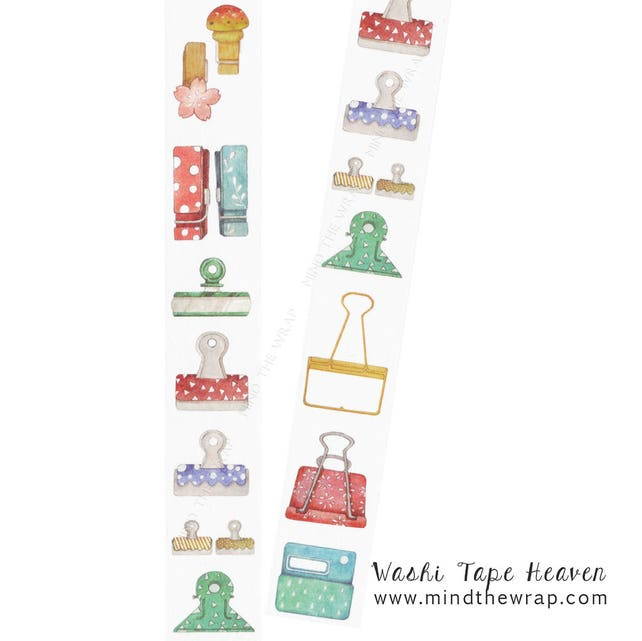 Paperclips Washi Tape - 30mm x 8m - Trompe l'oeil Paper clips Planners Decoration Collage Card-making Crafting Supply