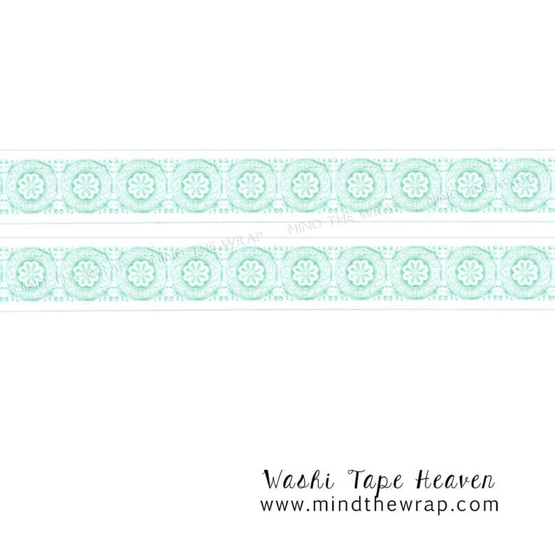 Mint Green Lines Crafts Washi Tape 15mm X 10m