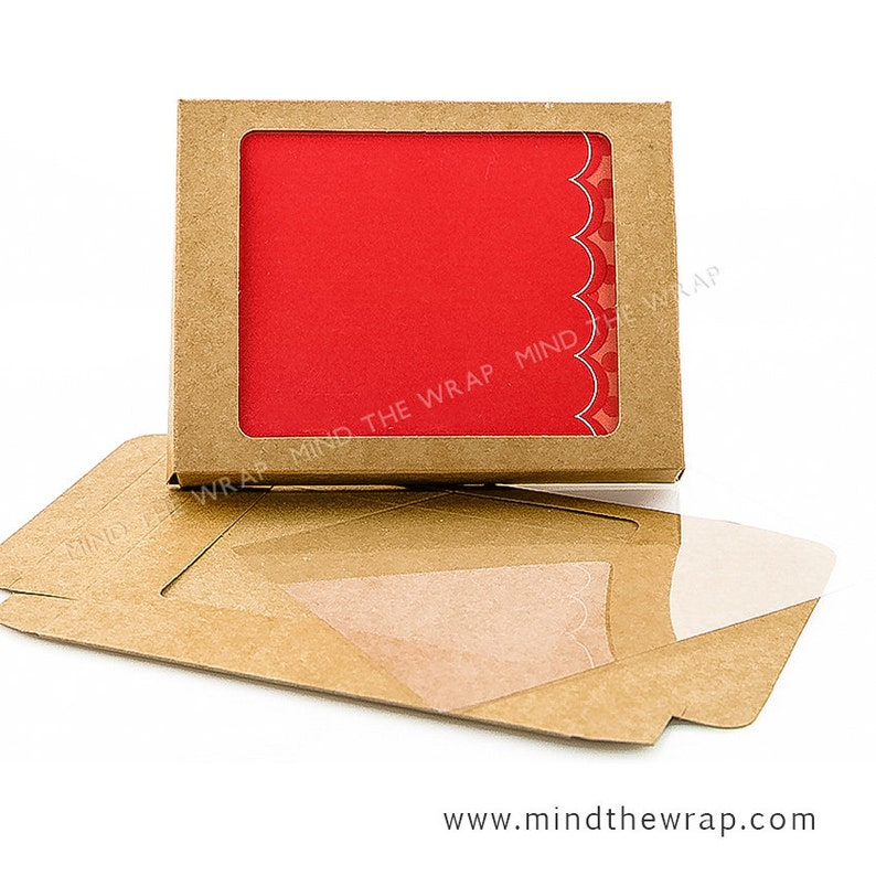 25 - A2 size Kraft Window Box and Clear Window Cover - 4-1/2 x 7/8 x 5-7/8  inches - Fits A2 Cards & Envelopes