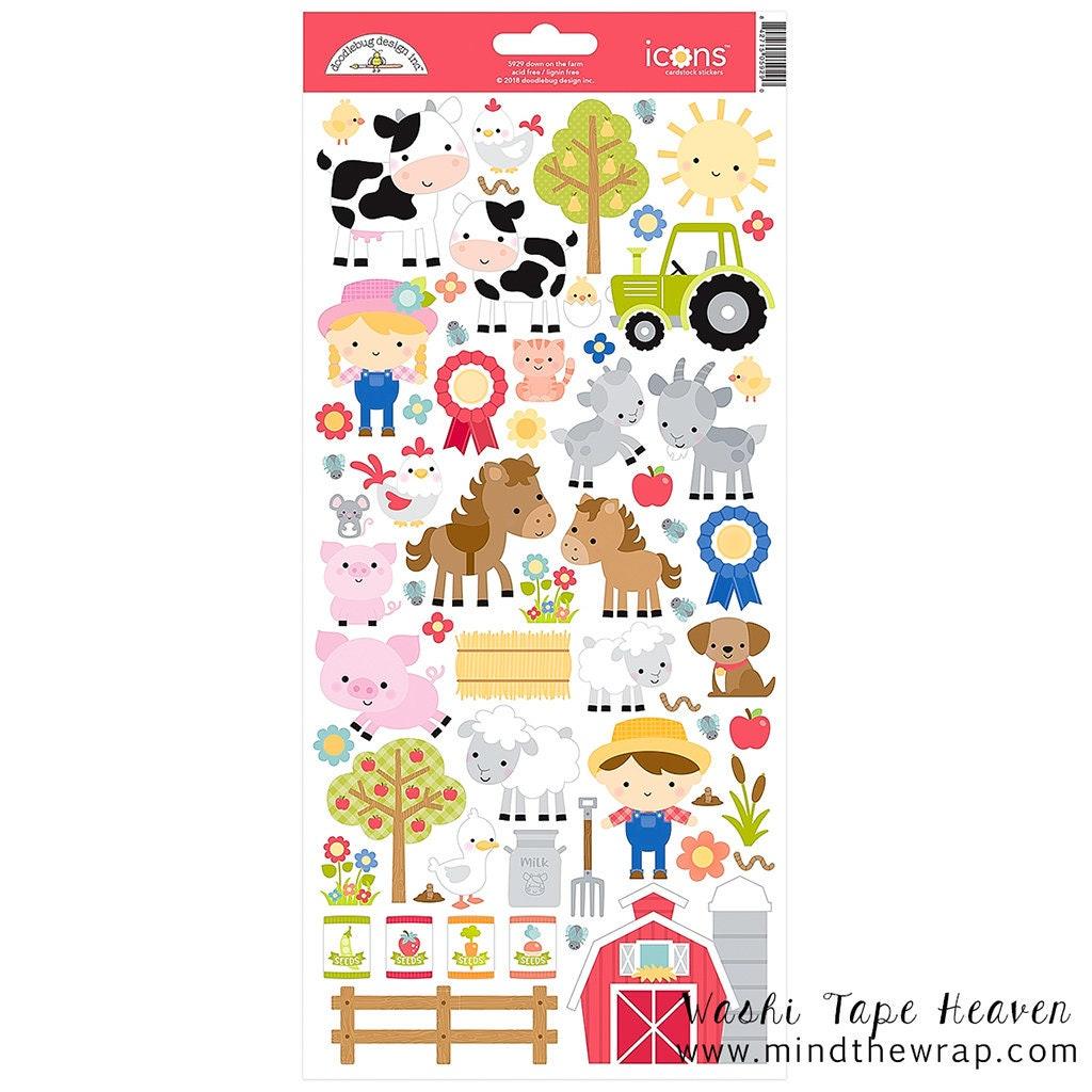 Farm Stickers Doodlebug Design Down On The Farm Etsy