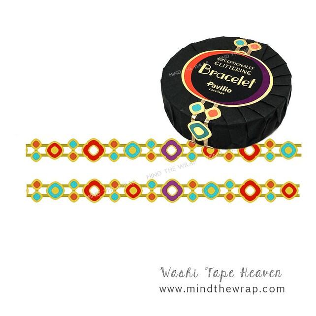 Bracelet Die CutTape - Gold Metallic and Jewel Tones - Elegant Strong Waterproof - 15mm x 10m