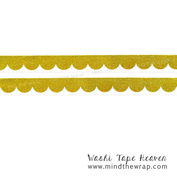 Gold Foil Scallop Washi Tape - Doodlebug Hello Collection - 15mm x 12 yards