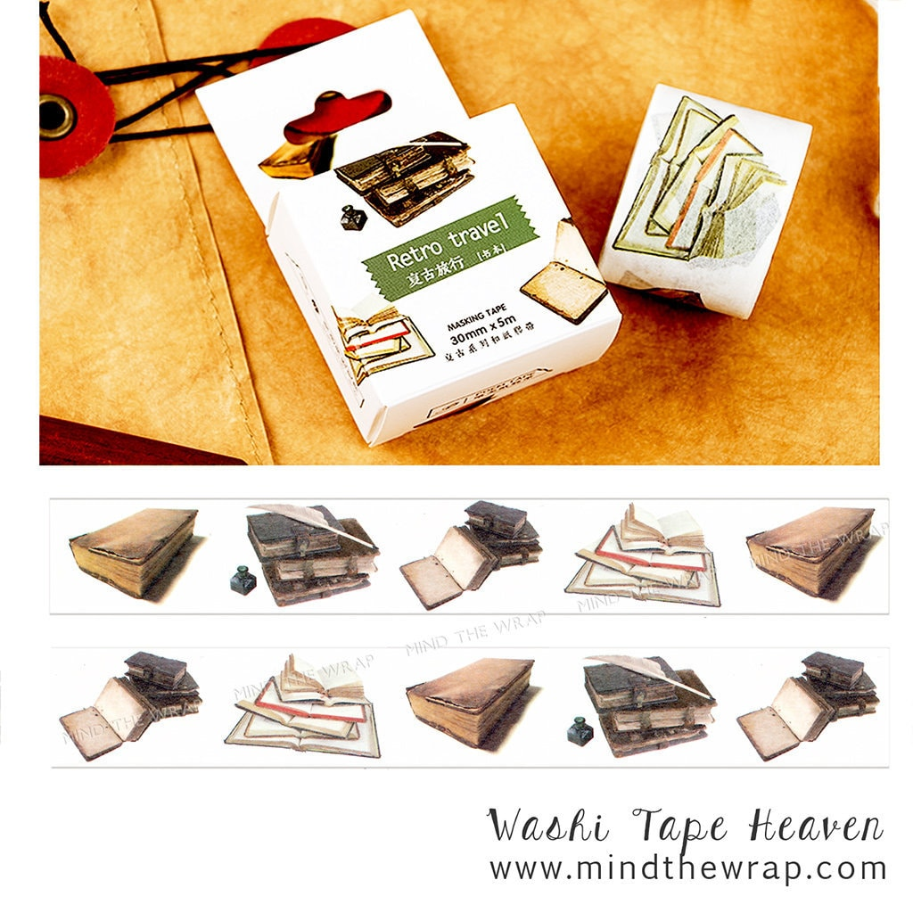 Image of: Rd Spotsylvania zoom Etsy New Books Washi Tape 30mm Wide Old Travel Journals Diaries Etsy