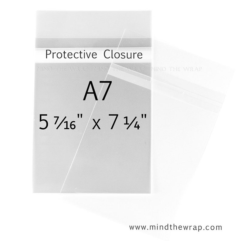 200 - A7-size Clear Bags - 5-7/16 x 7-1/4 inches - for 5 x 7 Cards and  Photos - Protective Closure Polypropylene Sleeves Envelopes