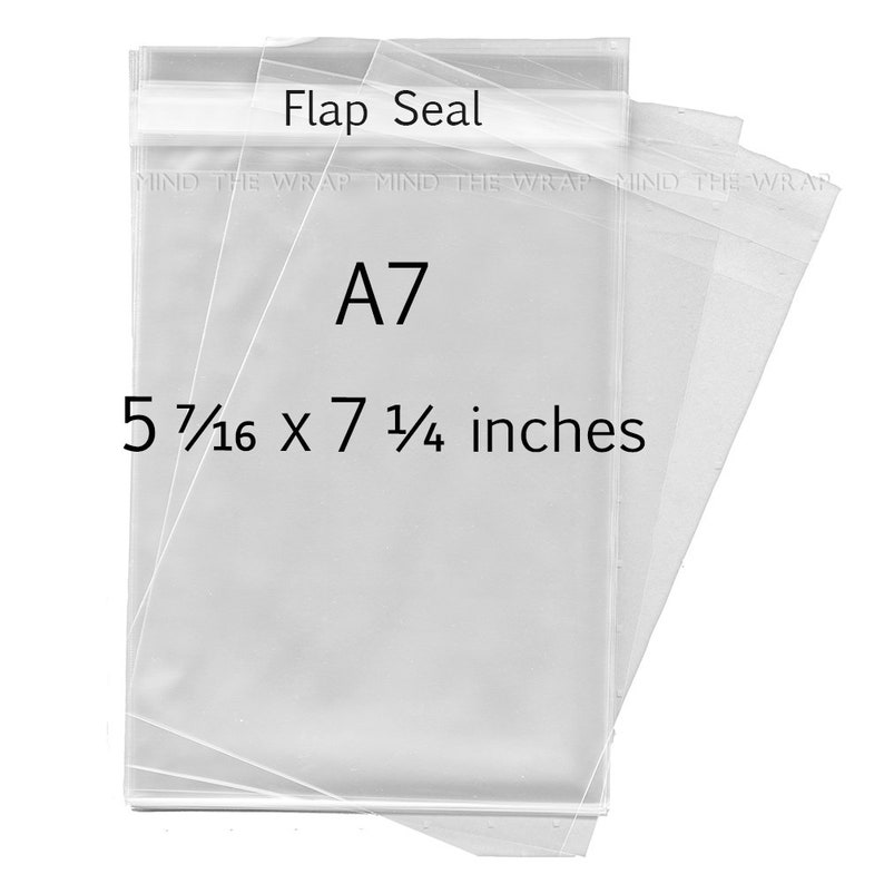 """Polypropylene Bags with Flap ClearBags 5-7//16/"""" x 7-1//4/"""" Crystal Clear 100 Bags"""