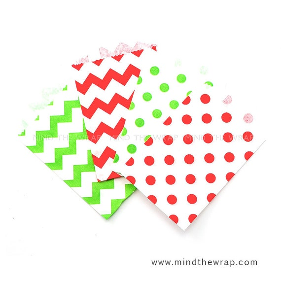 100 - Holiday Assortment  Mini Treat Bags - SAVE 30% - Red and Green Chevron & Polka Dots Christmas Favor Bags  - 2.75 x 4 inches