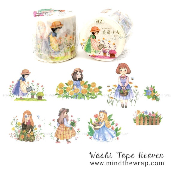NEW Sweet Little Girls Washi Tape - 40mm Wide - Adorable Children in a Garden - Pastel Watercolor Flowers Gardening Picket Fence
