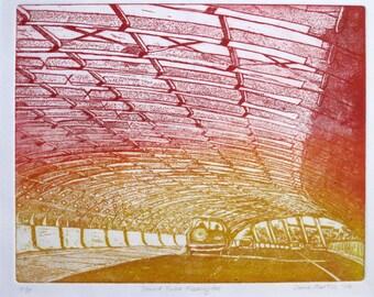 Art Print-Sound Tube, Flemington, Melbourne, Australia-etching & aquatint, graduated colour - one only
