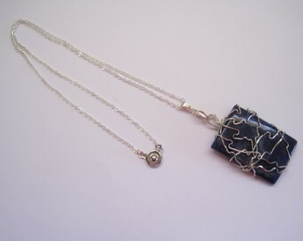 Sodalite Blue Gemstone Pendant, Wire Wrapped with silver wire, sterling bail & chain