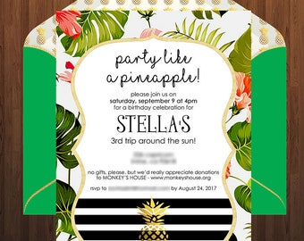 "Mod Pineapple Editable and Printable 5x7"" Invitation - Gold foil pineapple, black & white stripes, tropical leaves"