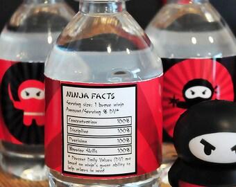 "NINJA Red & Black PRINTABLE Juice or Water Bottle Label - ""Ninja Facts"" Nutritional Label"
