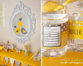 "SALE! Love ""Nesting Birds""  Gender Neutral Yellow and Grey Baby Shower Party Editable & Printable Kit"