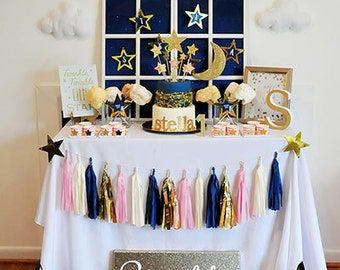 SALE! Twinkle Twinkle Little Star Birthday or Baby Shower Celebration Editable & Printable Digital Kit - Navy Blue, Gold, Pink and/or Green