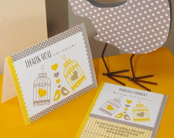 "SALE!!! Love ""Nesting Birds"" Yellow & Grey Baby Shower PRINTABLE Invitation (4""x7"", 10x18cm) AND Thank you Card (4""x5"", 10x13cm)"