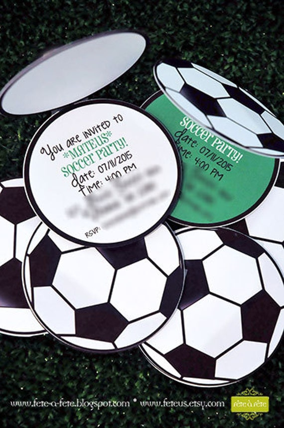 Soccer Party EDITABLE PRINTABLE Invitation Ball