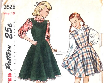 9a36e5b7c Girls Sewing Pattern Vintage 1950s 1960s Girls Pleated and