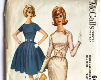 Vintage Sewing Pattern 1950s/1960s Women's Full Skirt Dress/Wiggle Dress with Button Detail at Waist  Size 10 Bust 31 McCall's 6473