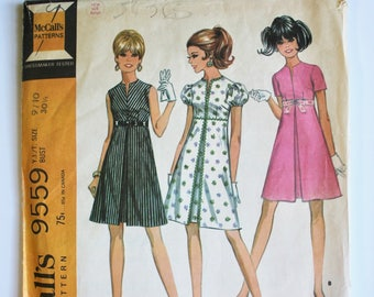 Teens/Juniors Sewing Pattern Vintage 1960s A Line Kick Pleated Shift Dress Sewing Pattern Size 9/10 McCall's 9559 Bust 30.5