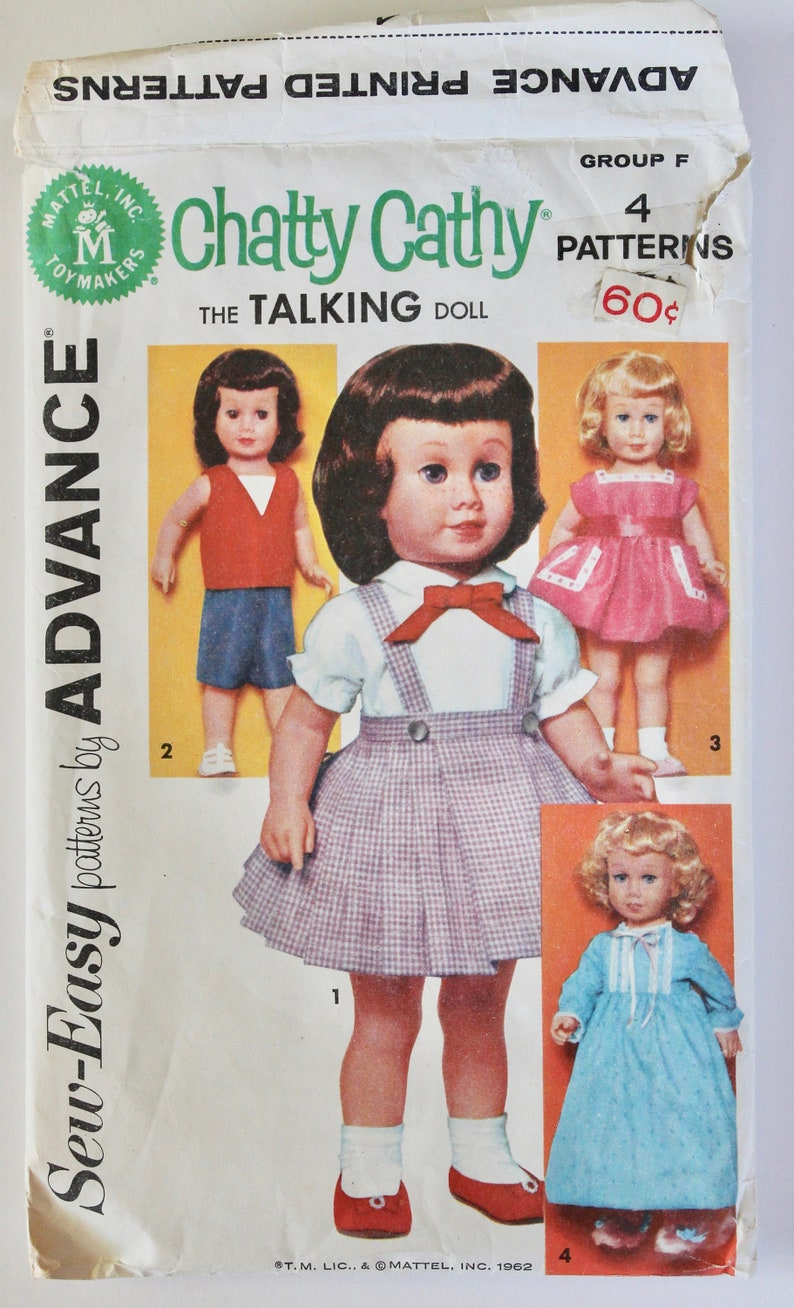 Vintage 1960s Chatty Cathy Doll Clothes Pattern Sew Easy by Advance Group F