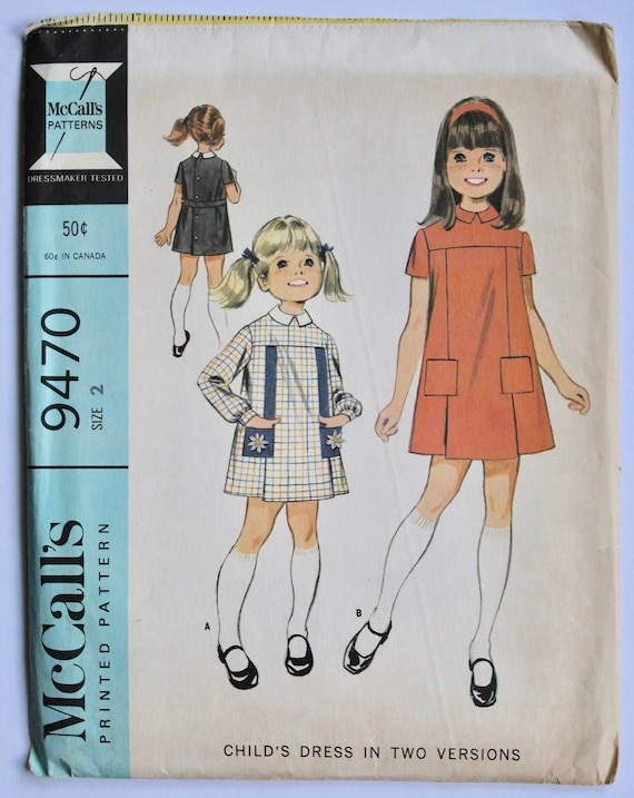 a66e8178e Girls Sewing Pattern Vintage 1960s Girls Collared Mod Jumper