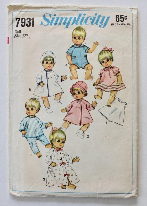 """Vtg 60s Baby Doll Dress Pattern ~ 14/"""" 15/"""" 16/"""" 17/"""" 18/"""" Tiny Chatty Betsy Wetsy"""